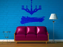 Purple couch, table  and standard lamp Stock Photos