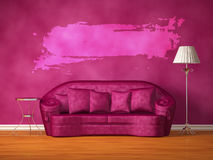 Purple couch with table, standard lamp and hole royalty free illustration