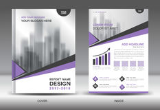 Purple Cover Annual report brochure flyer template creative Stock Photography
