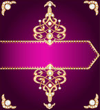 Purple cover for a book with gold ornament Stock Images