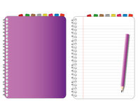 Purple cover notebook Stock Image