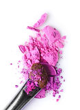 Purple crashed eyeshadow with brush for makeup as sample of cosmetic product Stock Photo