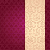 Purple and cream classical damask vertical banner Stock Photo