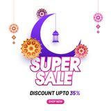 Purple crescent moon, hanging lanters, and florals on white back. Ground. Super sale banner design with 35% discount offers Royalty Free Stock Photos