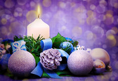 Cristmas decoration and advent candle. Stock Image