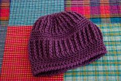 Purple Crocheted Hat Stock Photos