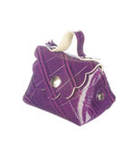 Purple crocodile leather bag isolated on white Royalty Free Stock Photo