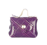 Purple crocodile leather bag isolated on white Royalty Free Stock Photos