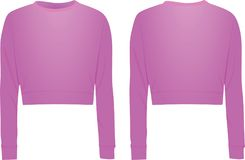 Purple crop sweater, front and back view. Vector Royalty Free Stock Photo
