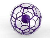 Purple crystal ball illustration. 3D render illustration of a purple crystal ball. The ball has a solid core. The composition is isolated on a white background Royalty Free Stock Photography