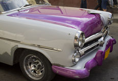 Purple Cuban car front. Old purple and white cuban car bonnet/hood Royalty Free Stock Images