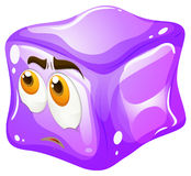 Purple cube with sad face Royalty Free Stock Image