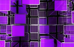 Purple Cubes Abstract. Background. 3D Illustration Stock Photo