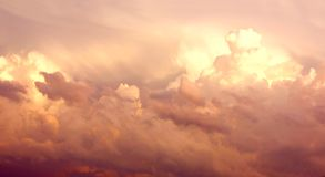 Purple Cumulonimbus Clouds in Sky After Storm Stock Photography