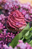 Purple cupcake with purple lilac around and green leaves Royalty Free Stock Photography