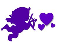 Purple Cupid. Illustration in purple of a cupid with bow and arrow pointed toward three different sized hearts.  Isolated on a white background Royalty Free Stock Photo