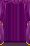 Purple curtain. Little stage with purple curtain Royalty Free Stock Photography