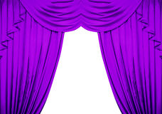 Purple curtain isolated on white background Stock Photography
