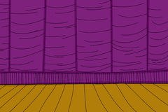 Purple Curtain Stage Background. Purple stage curtain and wooden floor cartoon background Royalty Free Stock Images
