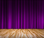 Purple curtain and wooden floor interior background Stock Image