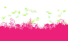 Purple Curves And Green Leaves. Background Royalty Free Stock Photo