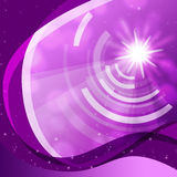 Purple Curvy Background Shows Sun And Data Waves Stock Photo