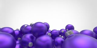 Purple 3D christmas balls tree globes  on  Royalty Free Stock Photos