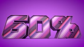 60% purple 3d text illustration. Nice 60% purple 3d text illustration Royalty Free Stock Photography