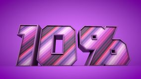 10% purple 3d text illustration. Nice 10% purple 3d text illustration Royalty Free Stock Photography
