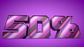 50% purple 3d text illustration Stock Photography