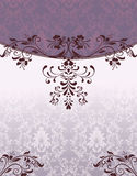 Purple damask invitation card Stock Photography