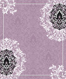 Purple damask wedding invitation card Royalty Free Stock Photo