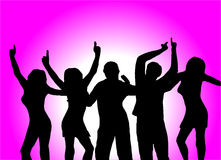 Purple Dancers. A group of dancers in silhouette in front of a purple background with a white light in the centre. The additional format is saved as an EPS Stock Image