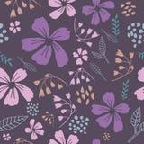 Purple Dancing Flowers Seamless Pattern vector illustration