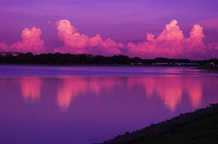 Purple Dawn. The amazing purple colour of the sky form a very beautiful landscape Stock Photo