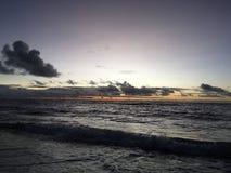 Purple Dawn above Pacific Ocean Seen from Kapaa on Kauai Island in Hawaii. Stock Images