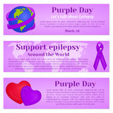 Purple Day banners with globe, ribbon and hearts for greeting card, ad, promotion, poster, blog, article, web page. Header, billboard or marketing isolated on Royalty Free Stock Photos