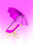 Purple deck chair and parasol Stock Photography