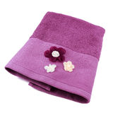 Purple decorated terry towel Stock Image