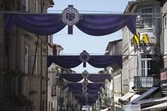 Purple decoration on a Portugal City Royalty Free Stock Photos