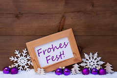 Purple Decoration, Snow, Frohes Fest Mean Merry Christmas Royalty Free Stock Image