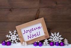 Purple Decoration, Snow, Joyeux Noel Mean Merry Christmas Royalty Free Stock Photo