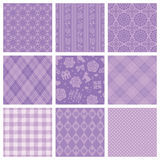 Purple decorative pattern. Set of purple decorative backgrounds Stock Photography