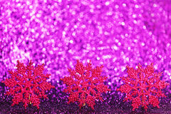 Purple decorative snowflakes Royalty Free Stock Images