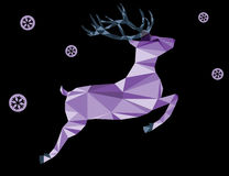 Purple deer of triangle shapes and snowflakes on a white background. Purple deer of triangle shapes and snowflakes on a black background Stock Photos