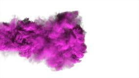 Purple dense smoke on a white background isolated.  Stock Photos