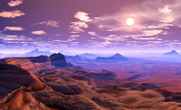 Purple desert. 3 D Illustration of desert Landscape.several clouds in the sky Royalty Free Stock Images