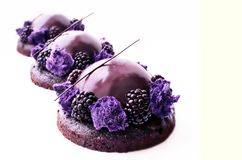 Purple desserts with blackberries on brownie base royalty free stock images
