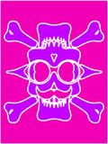 Purple devil skull with glasses and pink background Royalty Free Stock Image