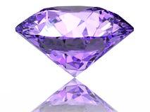 Purple diamond. On  white background  with reflection Royalty Free Stock Photo